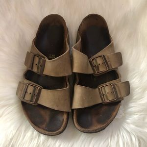 Birkenstock Arizona Two Strap Tan Leather Sandals